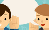 Speaking and listening. One man holds hand at his ear and the other says. Bubble information, hearing and whisper, vector illustration